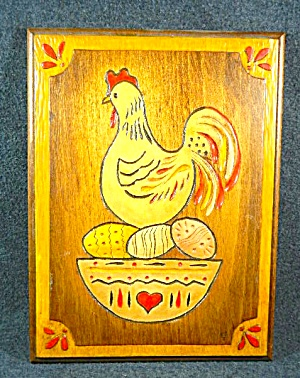 Carved Wood Picture  Chicken on Nest of Eggs  (Image1)