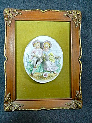 Framed Bisque Boy And Girl Gardening Green Velvet