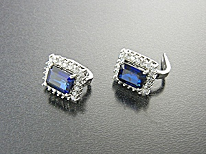 Kashmir Sapphire Pierced Clip Sterling Silver Earrings