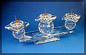 Swarovski Crystal Triple Candle Holder - Pin Style (Image1)