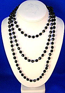 Jet Glass Bead 58 Inch Necklace (Image1)