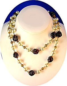 Pearl Cranberry Glass Filigree Gold Chain Link Necklace