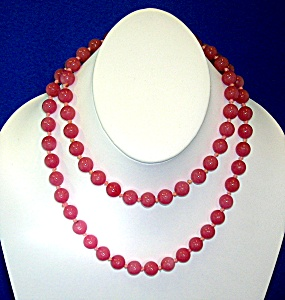 Rose Quartz 32 Inch Hand Knotted 9mm Bead Necklace (Image1)