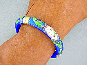 Cloisinee Antique Blue Pink Green Hinged Bracelet
