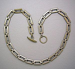 Sterling Silver Handcrafted Oblong Link Chain Necklace (Image1)