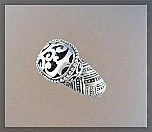 Sterling Silver High Set Scroll  Ring Signed BARSE (Image1)