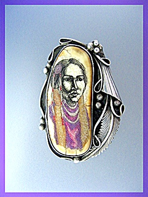 Pendant Ivory Bone Sterling Silver Signed F.N.G Mexico  (Image1)