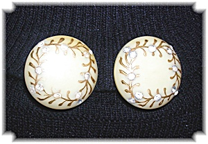 Bakelite & Rhinestone Clip Earrings (Image1)