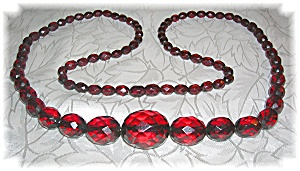 Necklace Rare Faceted Cherry Amber 30 Inch (Image1)