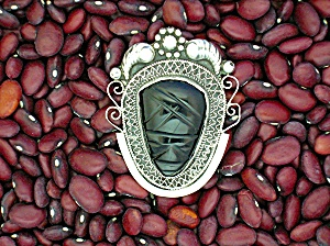 Sterling Silver Mexico Black Onyx Face Pin