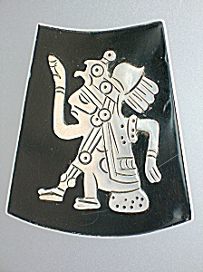 Sterling Silver Taxco Mexico HAB Enamel Pin Pendant (Image1)