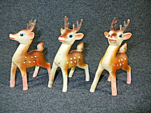 Reindeer 1950s 4 Inches Tall Set Of Five Plastic