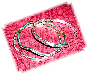 3 Mexican Sterling Silver Bangle Bracelets (Image1)