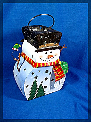Snowman Luminary, Metal with glitter. Holds a tea light (Image1)