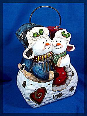 Mr and Mrs Snowman Luminary, Metal with glitter. Holds (Image1)