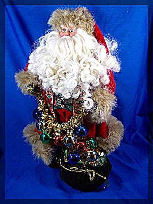 Jolly Saint Nick, fur trimmed hat, velvet suit, (Image1)