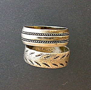 2 Sterling Silver Band Rings Size 6 . . . . (Image1)