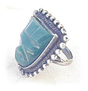 Signedsterling Silver Green Glass Ring . . . . . . .