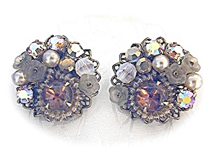 Gold Filigree Crystal Glass Clip Earrings
