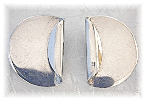 Sterling Silver Modernistic Clip Earrings Mexico (Image1)