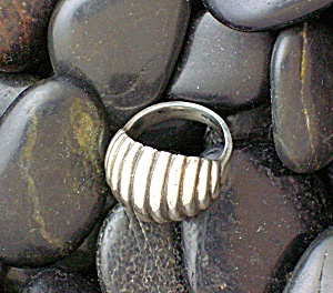 Domed Sterling Silver Pinkie Ring, Artist Signed . . .