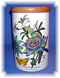 Portmeirion Blue Passion Flower Kitchen Jar. (Image1)