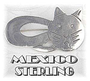 Adorable Sterling Silver Kitty Kat Pin/Brooch (Image1)