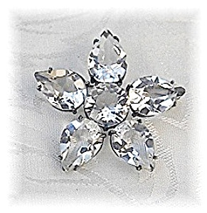 Fabulous Silver & Crystal Star/flower Brooch