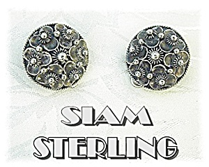 Indonesia Sterling Silver Clip Earrings Siam (Image1)