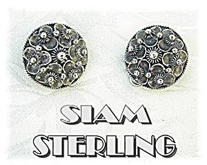 Vintage Sterling Silver Clip Earrings Siam (Image1)