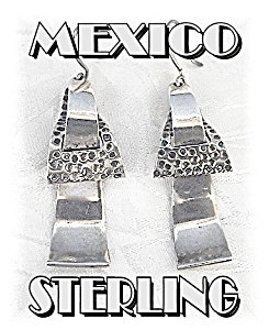 Signed Sterling Mexico TE-24 Dangly Pierced Earrings (Image1)
