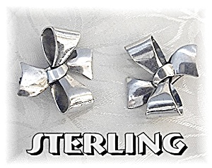 Sterling Silver Bows Signed B Patent Clip Earrings (Image1)