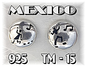 Taxco Signed ANNI Sterling Silver Clip  Earrings (Image1)