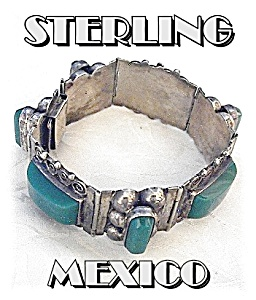 Mexico Sterling Silver Green Glass Jade Bracelet  (Image1)