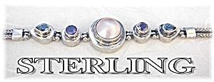 Mabe Pearl Amethyst Blue Topaze Sterling Bracelet . . (Image1)