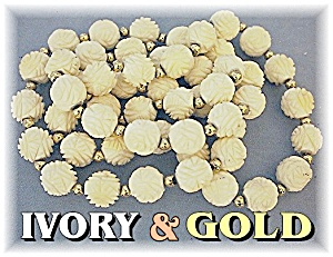 14k Gold Hand Carved Bone Ivory Flowers Necklace