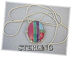 Necklace Sterling Silver Turquoise Coral Malachite Inla (Image1)