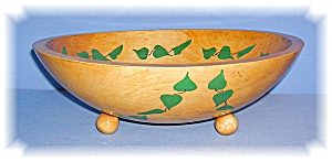 Vintage Footed Wooden Ivy Salad Bowl (Image1)