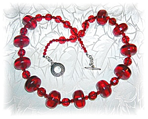 Cherry Amber & Czch Glass Sterling Silver Bead Necklace