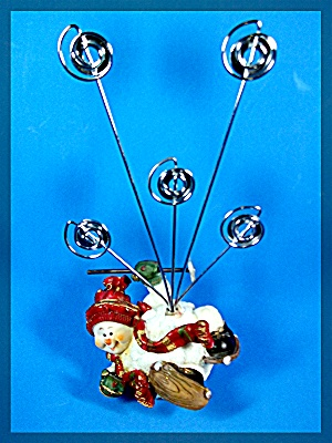 Snow Man Christmas Card holder with snowshoes (Image1)