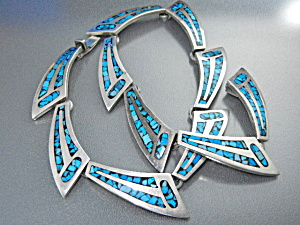 Taxco Mexico Silver Inlay Turquoise Necklace 60s