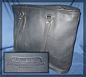 Black  Leather Tote  Bag LAURA U.S.A.  (Image1)