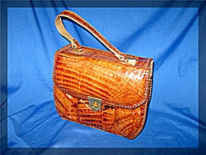 Crocodile  50s Tan Leather Purse (Image1)