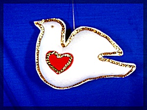 Handmade white dove decoration with red heart (Image1)