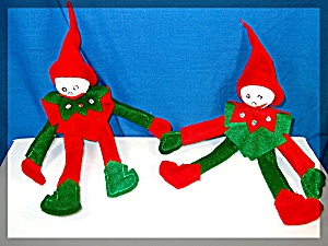 Christmas Elvf 1 Red and 1 Green Felt. bendable (Image1)