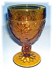 AMBER FOOTED GLASS GOBLET....... (Image1)