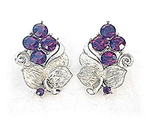 Earrings LISNER Ruby Crystal and Silver Clips (Image1)
