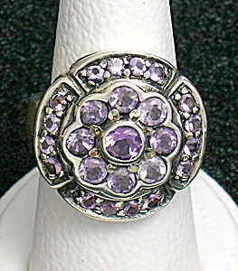 Sterling Silver Amethyst Pink Crystal Flower  Ring (Image1)