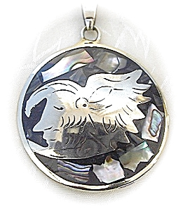 Mexican Silver Abalone Aztec Eagle Warrior Pendant