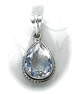 Pendant Sterling Silver Natural White Zircon Teardrop